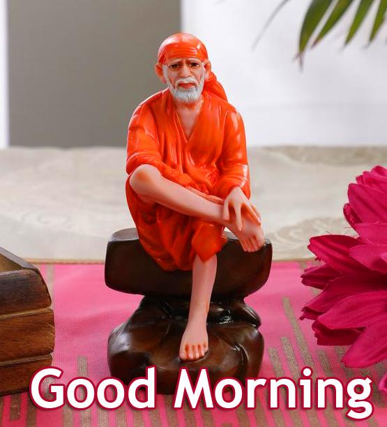 Sai-Baba-Statue-with-Good-Morning-Wish