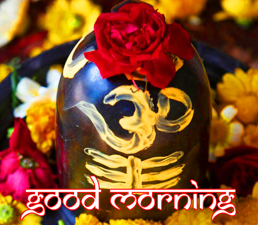 Flowers and Mahadev Shivling Good Morning Picture