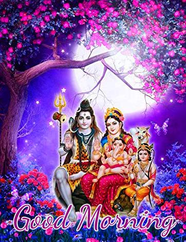 Mahadev Purple Good Morning Wallpaper